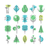 Line and color geometrical trees, set of  symbols, logos Royalty Free Stock Images