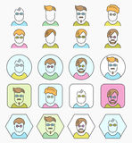 Line color icons set with flat design. Vector pictogram collection stock illustration
