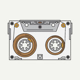 Line color vector icon audiocassette. Hipster style. Illustration texture for your design Royalty Free Stock Images