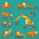 Line color vector icon construction machinery set with bulldozer, crane, truck, excavator, forklift, cement mixer Royalty Free Stock Images