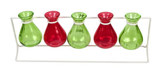 Line of Colored Beakers on a Stand Royalty Free Stock Images