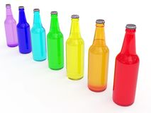 Line of colored beer bottles. Diagonal line of colored beer bottles rendered with soft shadows on white background royalty free illustration