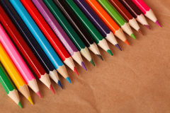 line of colored pencils. Royalty Free Stock Images
