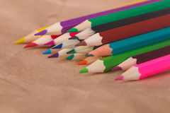 line of colored pencils. Stock Images