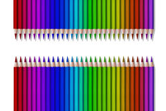 Line of colored pencils on black background Stock Photos