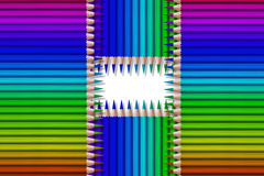 Line of colored pencils on black background Stock Images
