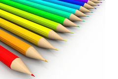 Line of colored pencils. 3d render of line of colored pencils Royalty Free Stock Photography