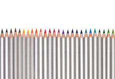 Line of colored pencils, isolated on white Royalty Free Stock Photography