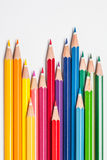 Line of colored pencils Stock Photos