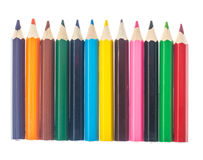 Line of colored pencils on white background Stock Photo