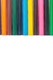 Line of colored pencils on white background Royalty Free Stock Photos
