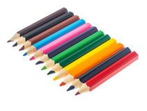Line of colored pencils on white background Royalty Free Stock Images