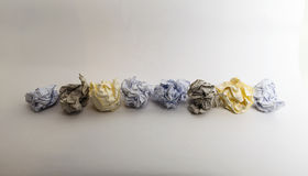 A line of colorful different Crumpled paper Balls Royalty Free Stock Photography