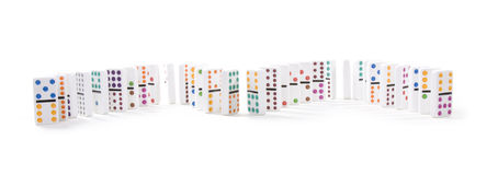 Line of colorful dominoes isolated on white Royalty Free Stock Photography