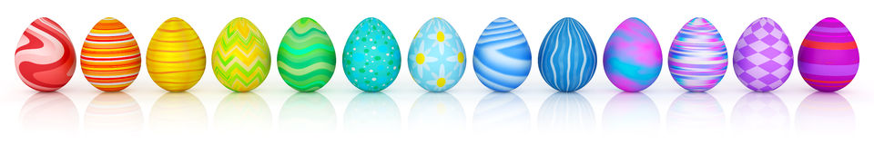 Line of colorful Easter eggs isolated. On white Royalty Free Stock Photo