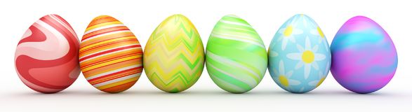 Line of colorful Easter eggs isolated on white. 3d render Royalty Free Stock Photography