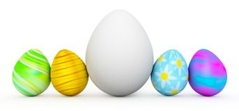 Line of colorful Easter eggs with large white egg. 3d render Royalty Free Stock Images