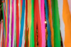 Line of colorful fabric and look beautiful. royalty free stock photography