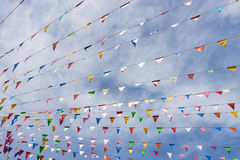 Line of colorful festival flags Royalty Free Stock Photos
