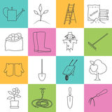 Line Colorful Icons Gardening Equipment Royalty Free Stock Photo
