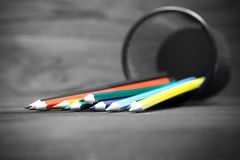 Line of colorful pencils Stock Image