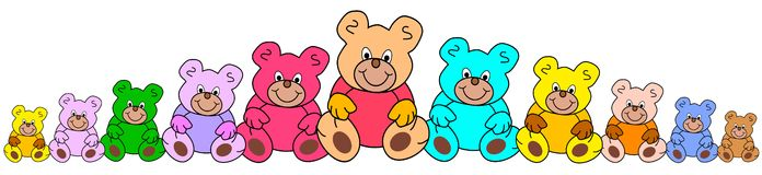 Line of colorful teddies Royalty Free Stock Image
