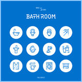 Line colorfuul icons set collection of bath room Stock Images
