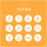 Line colorfuul icons set collection of Kitchen and Cooking Foods. Royalty Free Stock Photography