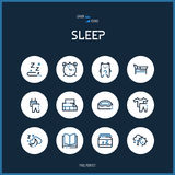 Line colorfuul icons set collection of sleeping signs for design. Stock Photography