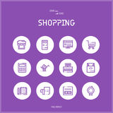 Line colorfuul icons set of E-commerce and shopping Royalty Free Stock Images