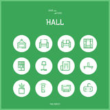 Line colorfuul icons set of hall and Home room Stock Photos