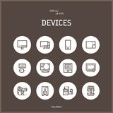 Line colorfuul icons set of technology, electronic devices. Stock Photography