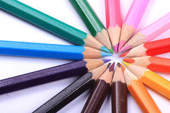 Line of coloured pencils royalty free stock photos