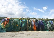 A line of colourful fishing nets. Royalty Free Stock Image