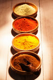 Line of colourful ground spice Royalty Free Stock Images