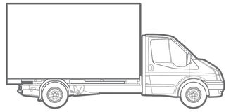 Line commercial truck royalty free illustration