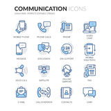 Line Communication Icons. Simple Set of Communication Related Color Vector Line Icons. Contains such Icons as Phone Calls, Video Chat, On-line Support and more stock illustration