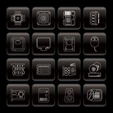 Line Computer  Performance and Equipment Icons Royalty Free Stock Images