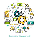 Line concept - Configuration Management. Vector concept of Configuration Management Round Concept in Thin Line Art Style. Gear wheels and business icons Royalty Free Stock Photo