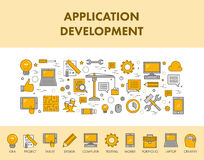 Line concept web banner and icons for application development. vector illustration