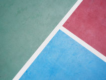 Line on concrete outdoor basketball court Stock Images