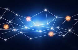 Line connected to the network points of light. Royalty Free Stock Photography