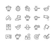 Line Cooking Icons. Simple Set of Cooking Related Vector Line Icons. Contains such Icons as Frying Pan, Boiling, Flavoring, Blending and more. Editable Stroke vector illustration