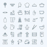 Line Cooking Utensils and Kitchenware Icons Set Stock Images