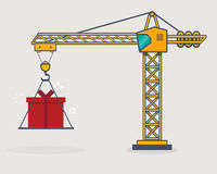 Line crane gift Royalty Free Stock Photography