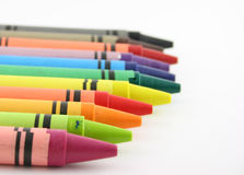 Line of Crayons. Close up of a line of brightly colored crayons Royalty Free Stock Image