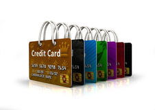 Line of Credit Cards. Ilustration of line of credit card bags Stock Photography