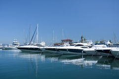 A line of cruisers berthed in Gibraltar marina Stock Photography