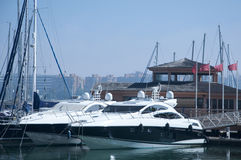 A line of cruisers berthed in Gibraltar marina Royalty Free Stock Photos
