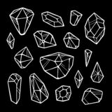 Line crystals on black background royalty free illustration